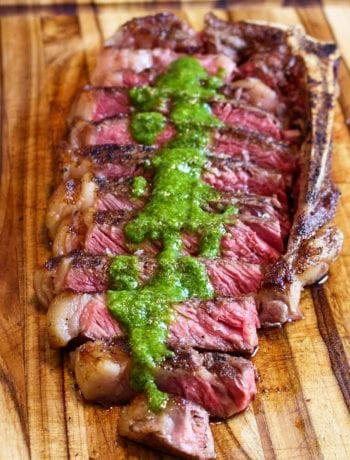 sous vide new york steak with chimichurri