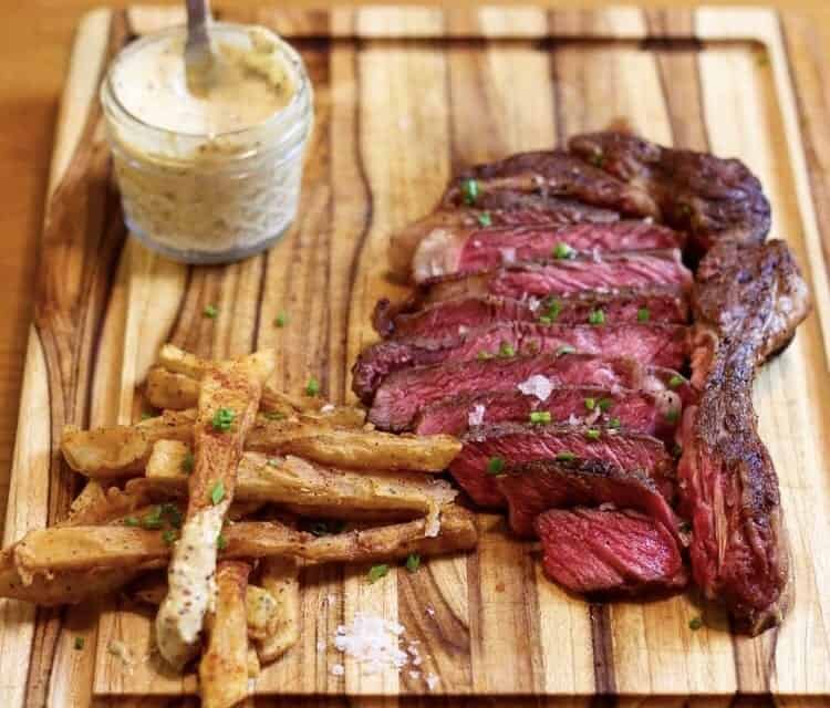 sous vide ribeye steak with french fries