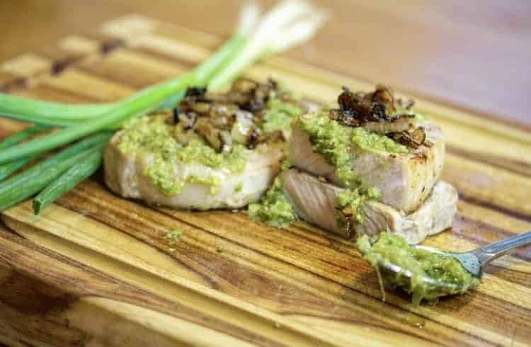 sous vide pork chops with scallion ginger sauce