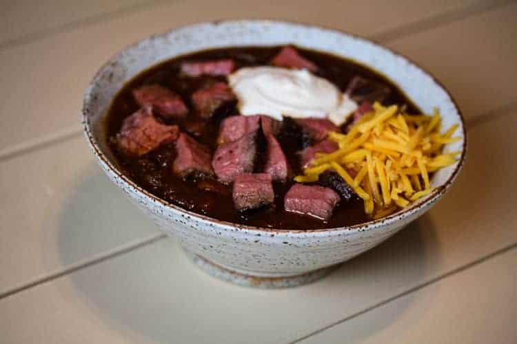 sous vide tri tip chili with sour cream and cheese