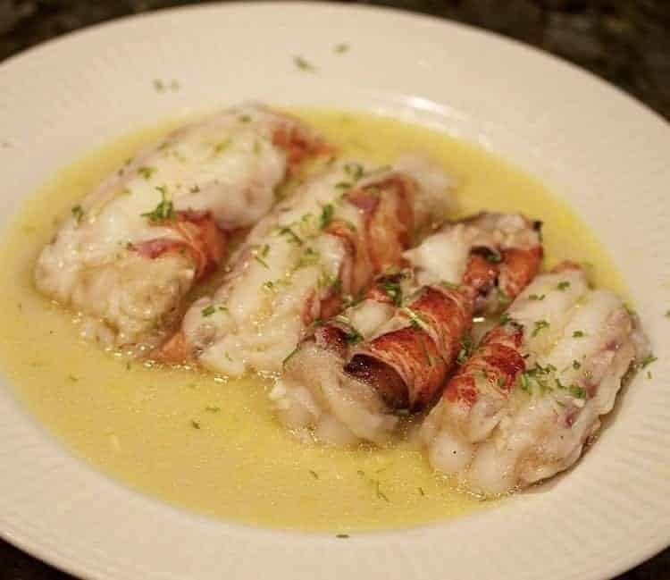 Butter poached sous vide lobster with chives
