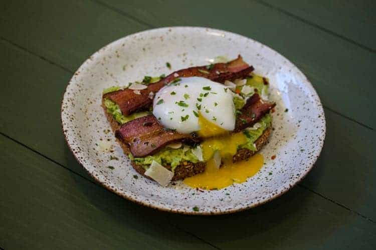 Avocado toast with bacon and sous vide egg